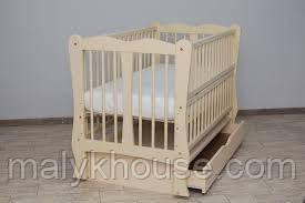 Ліжечко дитяче Дубок Хвилька з ящиком, маятниковим механізмом, опускним боком Колір слонова кістка