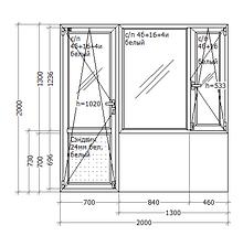 Металлопластиковое ПВХ окно, 2000x2000, балконный блок, GoodWin VEKA Euroline 60, поворотно-откидное