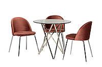 Обеденный стол круглый стеклянный на металлических ножках, прозрачный