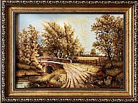 Картина янтарная пейзаж Дорога, Картина пейзаж з бурштину Дорога 20x30 см