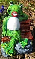 Садовая скульптура для дачи Лягушонок на скамейке, 20 см