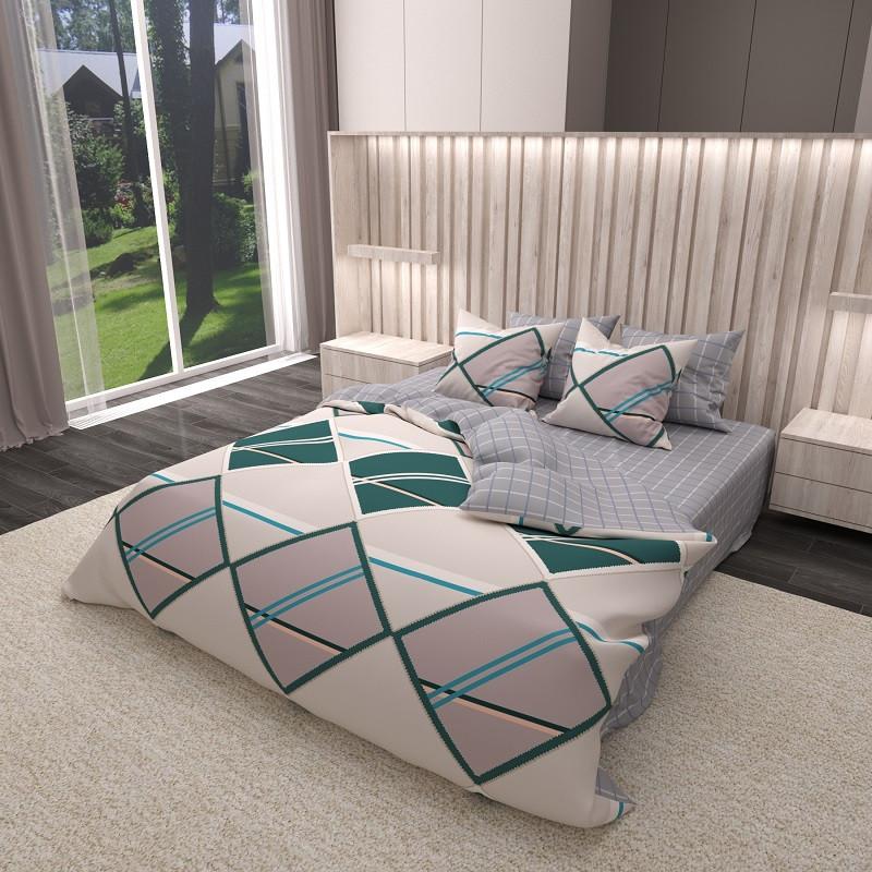 Комплект постельного белья Сатин 100% хлопок - Абстракция ромбы 4 размера Евро