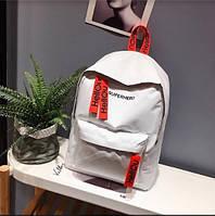 Рюкзак тканевый городской стильный с красными бирками, белый, фото 1