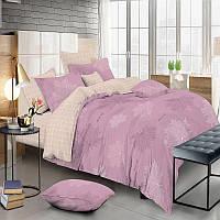 Комплект постельного белья Сатин 100% хлопок - Листья на розовом 4 размера Евро