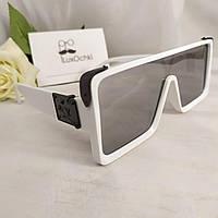 Трендовые очки маска женские YSL в белой оправе с зеркальной цельной линзой