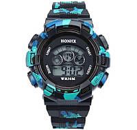 Часы наручные детские электронные, цифровые для мальчика Honhx черные, голубые, камуфляж, с будильником, фото 1