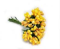 """""""Тычинки в сахаре"""" желтые кукурузные, искусственных на розетке листьев (1 набор - 12 веточек ), фото 1"""