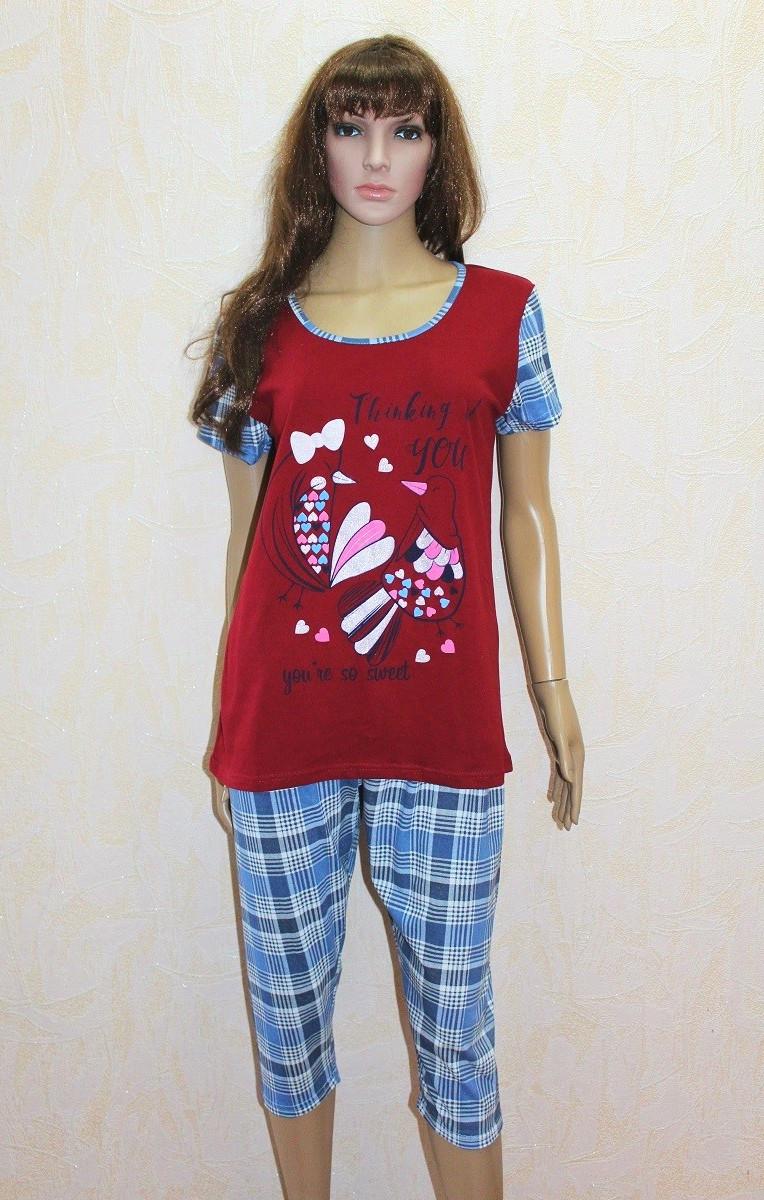 Пижама женская футболка с бриджами трикотажная бордо р.48-56