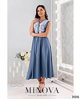 Легкое джинсовое платье  макси, украшенное кружевными вставками с 50 по 64 размер