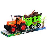Трактор 906-280 (48шт) инер-й, 33см, с прицепом, динозавры 3шт, 11см, в слюде,35-10,5-13,5см