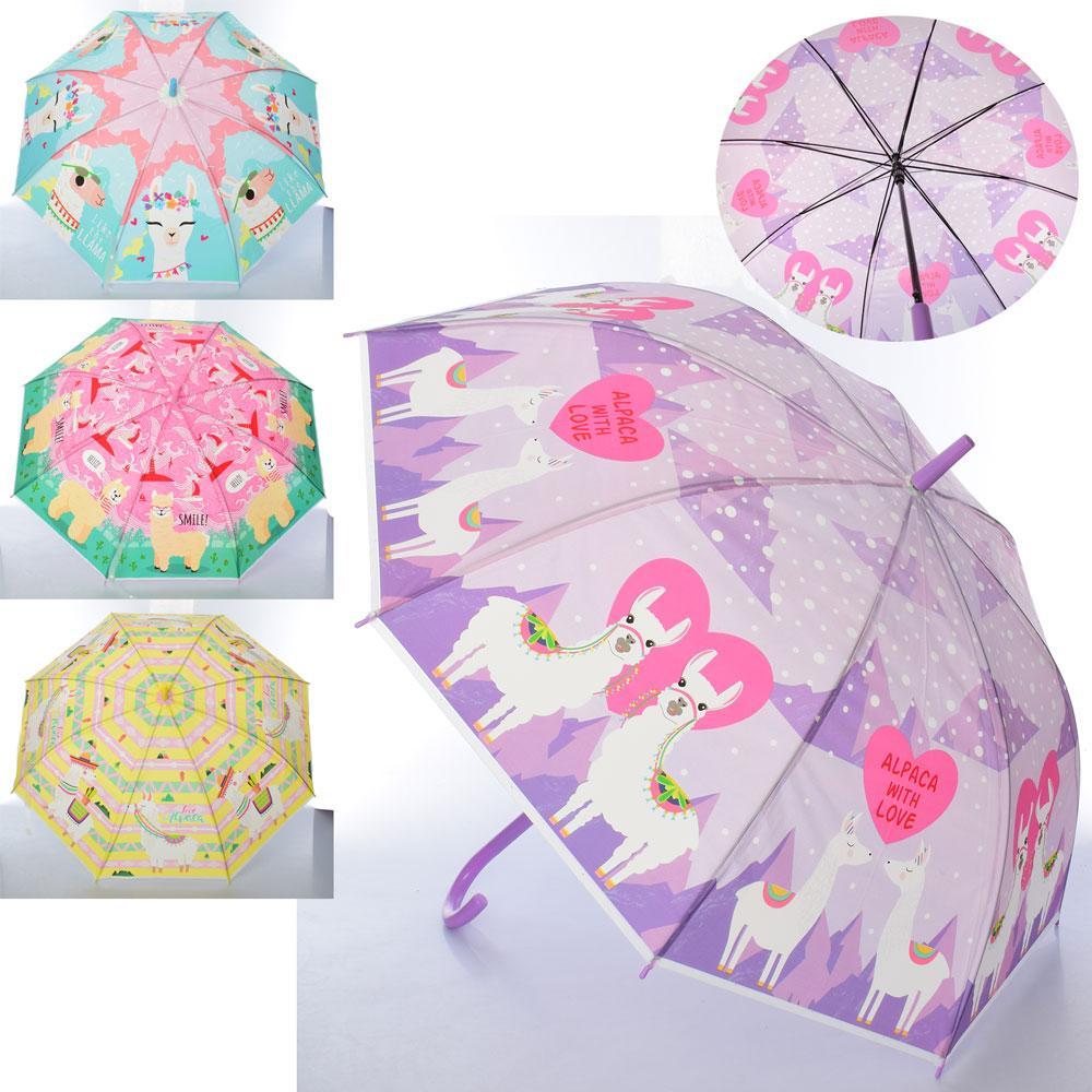 Зонтик детский MK 4142 (48шт) длина83см, трость75,диам.97см,спица58см, клеенка,4вида-лама,в кульке