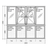 Металлопластиковое ПВХ окно, 2800х2400, французский балкон, GoodWin VEKA Euroline 60