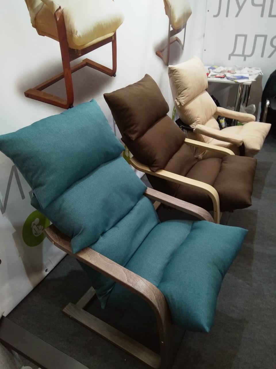 Лаундж кресло Супер Комфорт Стандарт с эффектом покачивания, голубая 085 ткань