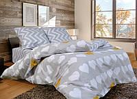 Двухспальный комплект качественного постельного белья, серые сердечки