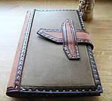 Кожаная обложка блокнот еженедельник винтажный ручной работы для подарка мужчине оригинальный, фото 6