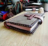 Кожаная обложка блокнот еженедельник винтажный ручной работы для подарка мужчине оригинальный, фото 3