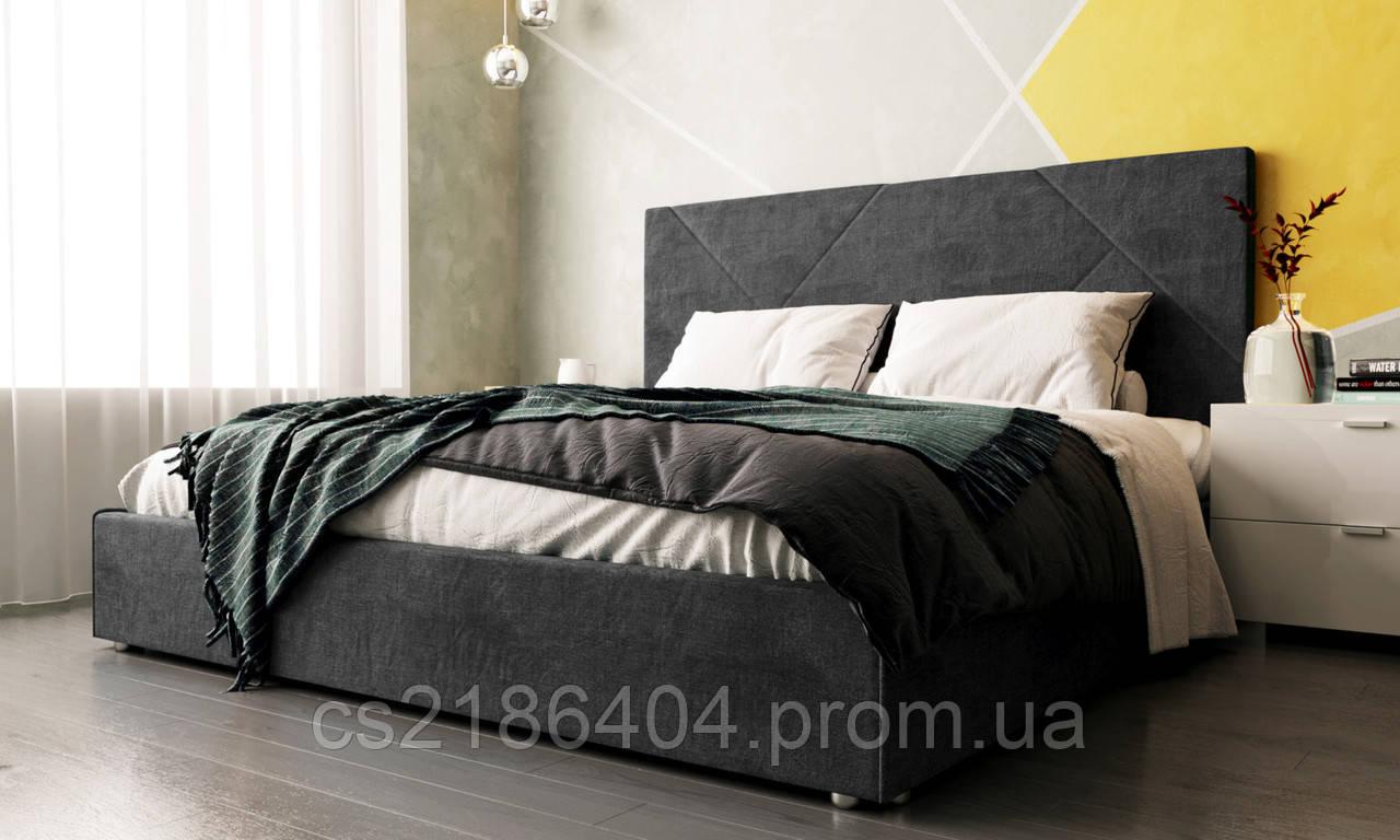 Двоспальне ліжко у тканині велюр сірий Шик Галичина Сіті