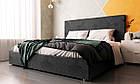 Двоспальне ліжко у тканині велюр сірий Шик Галичина Сіті, фото 3