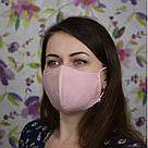 Розовая маска защитная трехслойная многоразовая хлопковая. Женская, фото 2