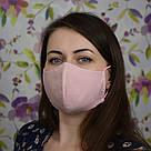 Розовая маска защитная трехслойная многоразовая хлопковая. Женская, фото 3