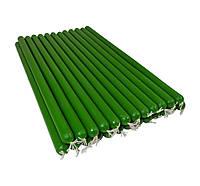 Зеленые восковые свечи 21см