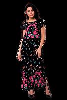 Летнее длинное платье в пол прямого кроя с разрезом принт бабочки черное D61S-2