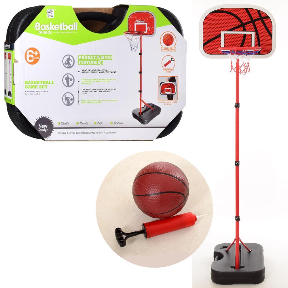 Баскетбольное кольцо на стойке MR 0072 высота регулируемая 149/178 см мяч насос в чемодане