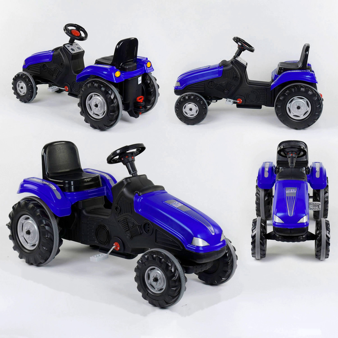 Трактор с педалями Pilsan 07-321 Синий (прорезиненные колеса, регулируемое сидение, клаксон на руле)