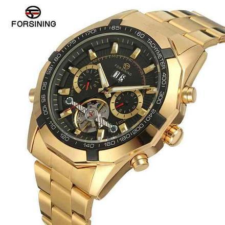 Часы Forsining Texas золотистые с черным циферблатом мужские механические часы скелетон