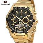 Часы Forsining Texas золотистые с черным циферблатом мужские механические часы скелетон, фото 3
