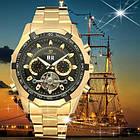 Часы Forsining Texas золотистые с черным циферблатом мужские механические часы скелетон, фото 5