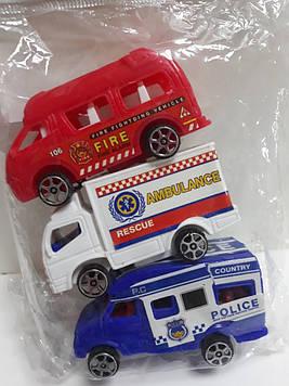 Набор машинок полиция скорая пожарная маленькие 3 шт.
