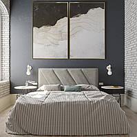 """Двоспальне ліжко  в якісній сірій тканині Шик Галичина """"Кліо"""""""