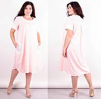 Нарядное женское платье свободного кроя,розовое 50-52 54-56 58-60 62-64