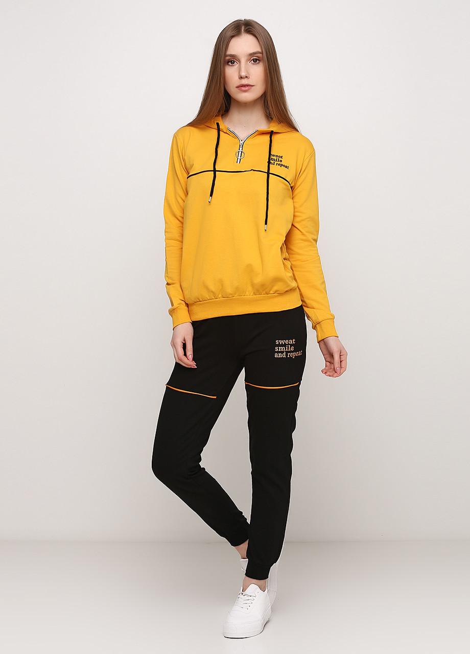 Спортивный костюм женский желто-черный Aylin однотонный