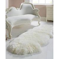 """Коврик из двух декоративных овечьих шкур """"ИДЕАЛ"""" белый цвет"""