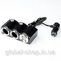 Разветвитель (тройник прикуривателя) 1502 In-Car 2 USB & 2 Socket 1502 Black (Черный), фото 2