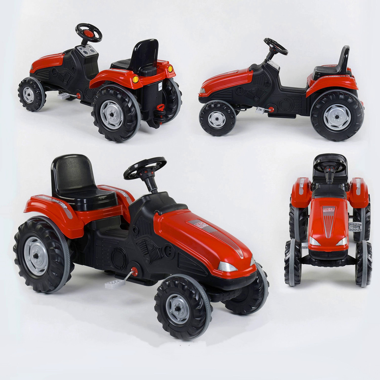 Дитячий трактор з педалями Pilsan 07-321 Червоний (прогумовані колеса, регульоване сидіння, клаксон на кермі)