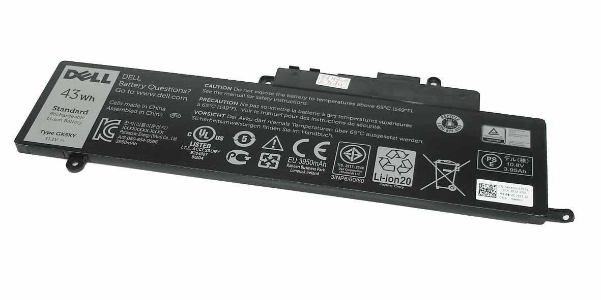 Оригинальная аккумуляторная батарея для ноутбука Dell GK5KY 11.1V Black 3950mAh