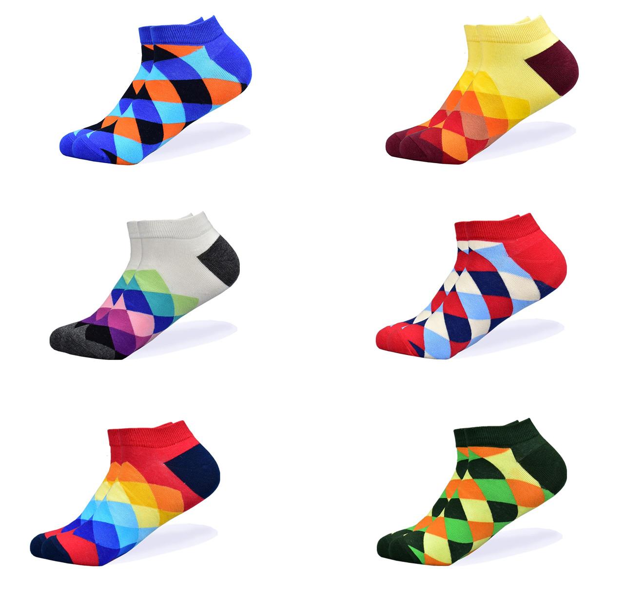 Набор низких носков, 6 пар, размер 39-45, разноцветные, яркие, happy socks, мужские/женские - унисекс