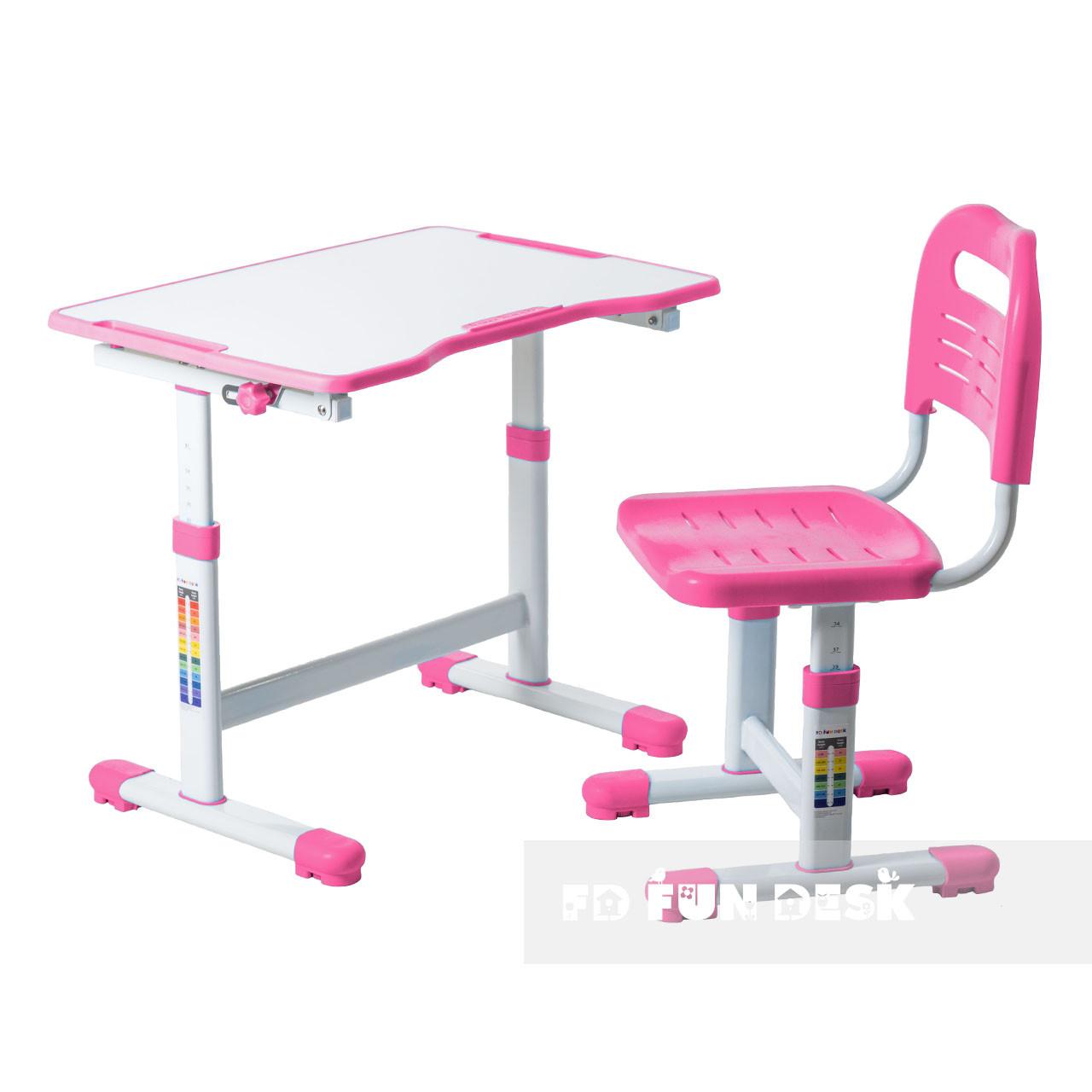 Комплект парта і стілець-трансформери FunDesk Sole II Pink - ОПТОМ ДЛЯ ШКІЛ