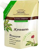 Зеленая Аптека шампунь для волос, жирных у корней и сухих на кончиках Женьшень 200мл дой-пак