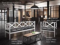 Кресло и Диван 3-х местный Грин Трик в стиле Лофт белый