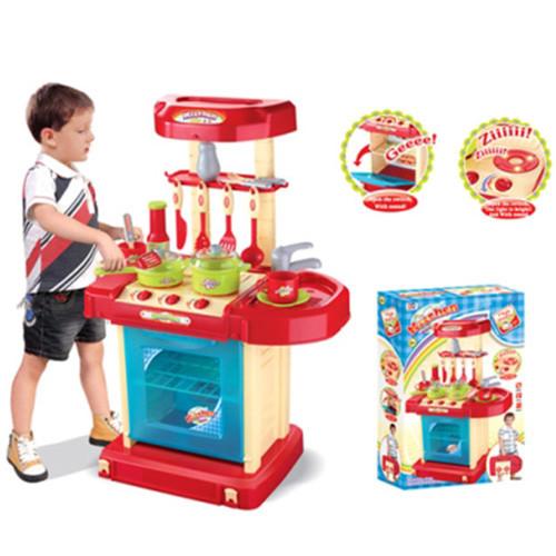Детский игровой набор Кухня большая 008-58A звук свет плита духовка посуда на батарейках