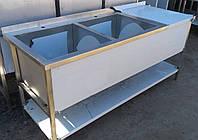 Стол с двумя моечными ваннами из нержавеющей стали с полкой