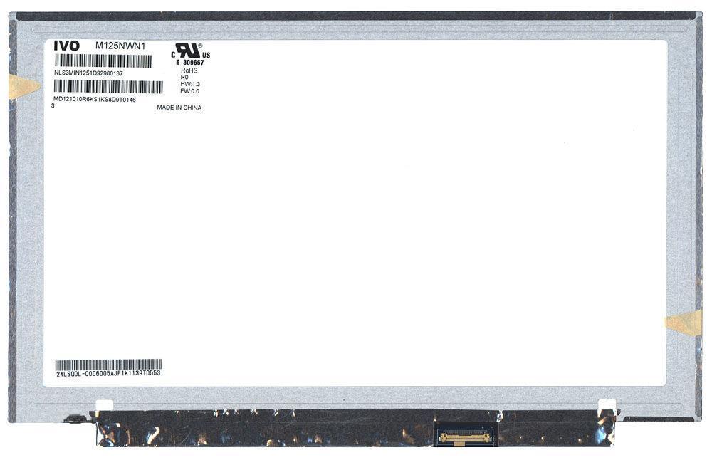 "Матрица для ноутбука 12,5"", Slim (тонкая), 30 pin (снизу слева), 1366x768, Светодиодная (LED), без крепления,"