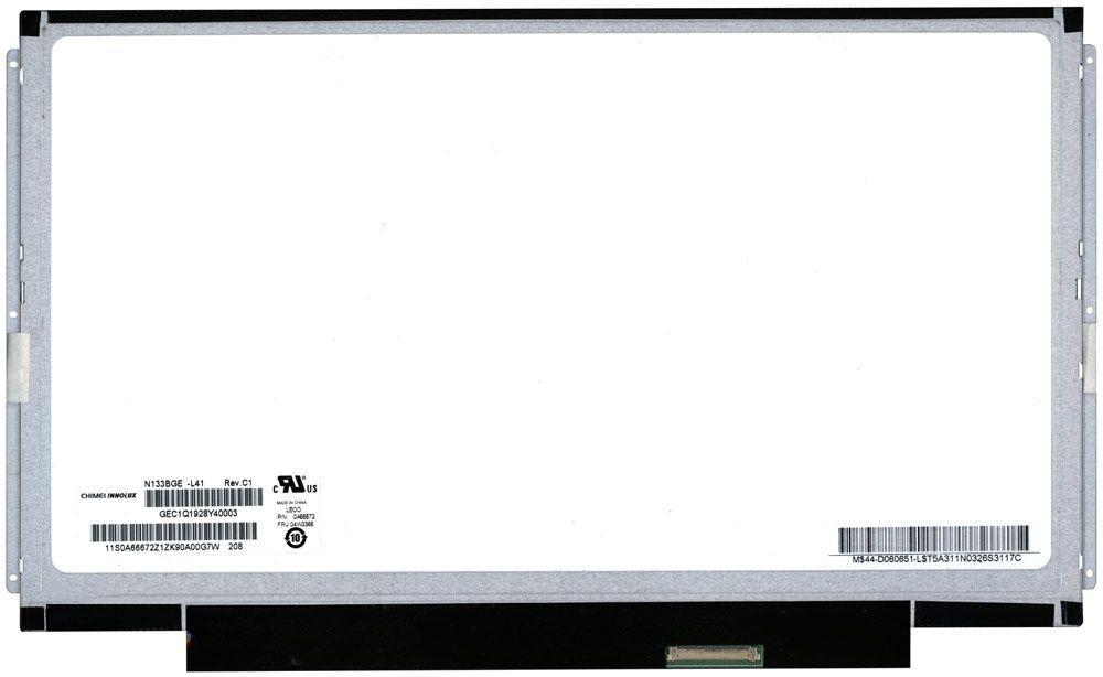 "Матрица для ноутбука 13,3"", Slim (тонкая), 40 pin (снизу справа), 1366x768, Светодиодная (LED), крепления планки по бокам, глянцевая, Chi Mei (CMO),"