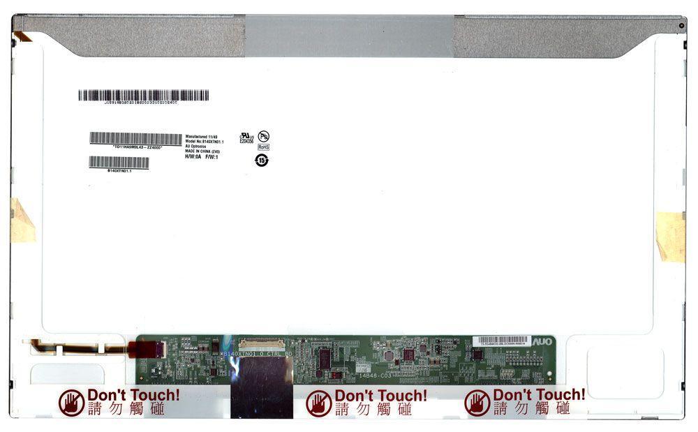 "Матрица для ноутбука 14,0"", Normal (стандарт), 30 pin eDP (снизу слева), 1366x768, Светодиодная (LED), без креплений, матовая, AU Optronics (AUO),"