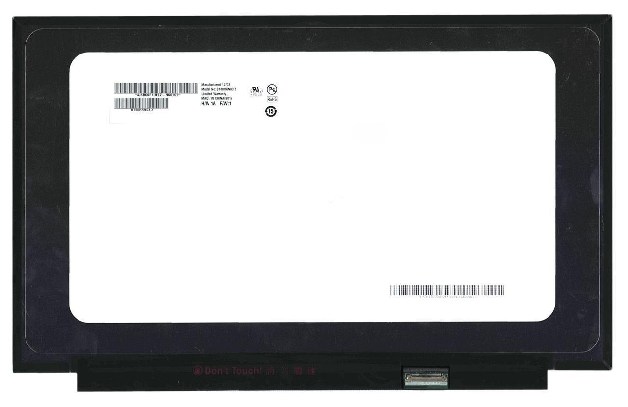 "Матрица для ноутбука 14,0"", Slim (тонкая), 30 pin eDP (снизу справа), 1920x1080, Светодиодная (LED), без крепления, Матовая, AU Optronics (AUO),"
