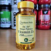 Puritan's Pride Vitamin D3 250 mcg 10.000 IU 100 soft Пуританс вітамін Д3 250 мкг 10000 од для засмаги